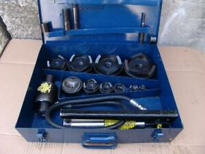 Current Tool Hydraulic Knockout Punch And Die Set 1 2 4 Inch Great Shape