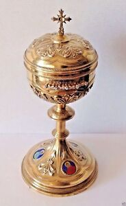 Antique Catholic Chalice 803 Gr Gilded Sterling Silver Diamonds Enamel