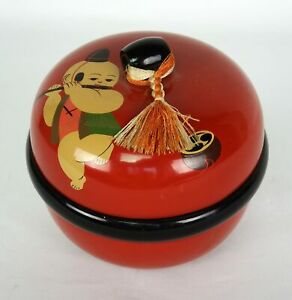 Japanese Lacquer Bento Box With Boy Playing