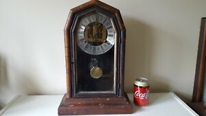 Antique E N Wellch Wooden Cased Mantle Clock