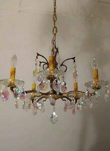 Vintage Ornate 30s Spanish 5 Arm Solid Brass Chandelier Lots Of Rainbow Crystals