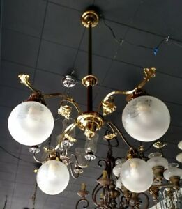 Antique Victorian Hanging Brass Light Fixture 4 Arm Ornate French Etched Shades