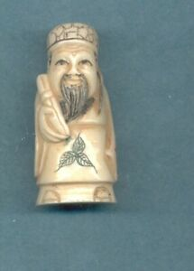 Fortune God W Scroll Signed Netsuke Vintage Stunning Hand Carved 913 B