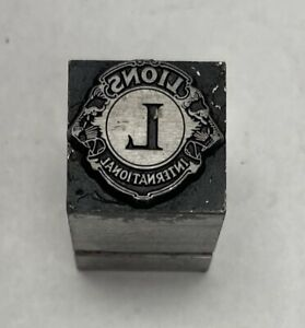 vintage Letterpress Printers Block Lions International Zinc Plate Solid Metal
