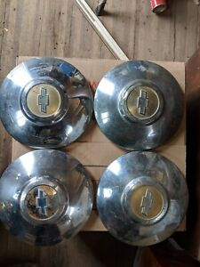 4 Chevy Dog Dish Hubcaps