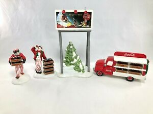 Dept 56 Coca-Cola Snow Village Delivery ~ Truck Delivery Men ~ Billboard