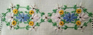 Gorgeous Floral Garland Displays Vintage Hand Embroidered Doily