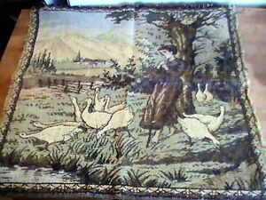 Vintage French Beautiful Tapestry Wall Hanging 19 By 19 Pillow Cover