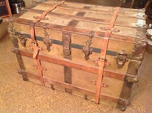Antique Steamer Trunk Vintage Victorian Fancy Flat Top Wooden Travel Chest C1890