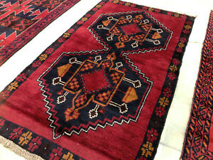 4x6 Red Persian Rug Hand Knotted Wool Heriz Navy Vintage Geometric Runner 3x6 Ft