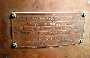 Vintage Ww2 U S Navy Bureau Of Ships Fletcher Class Destroyer Compass Binnacle