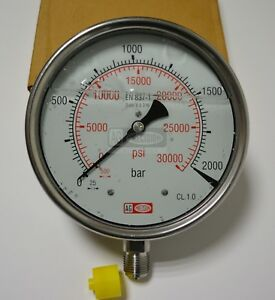 High Pressure Gauge Dual Scale 0 2000 Bar 0 30000 Psi Ideal For Common Rail