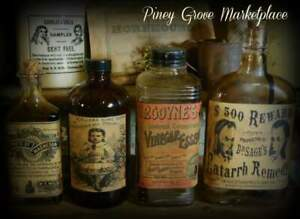4 Early Apothecary Glass Bottles Repurposed Drug Store Remedy Pharmacy Props