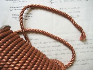 Vintage Antique French Copper Metallic Rope Cord Trim 1 4