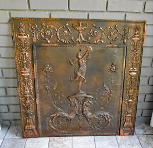 Antique Iron Fireplace Cover Framer Mythical Maidens Sharp Son 1895