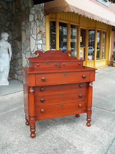 Outstanding Cherry Four Drawer Chest With Wooden Hardware 19thc