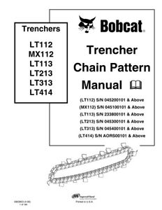 New Bobcat Trencher Chain Pattern Repair Service Manual 6903853 Free Shipping
