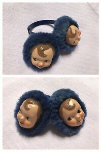 Vintage Child Composition Doll Face Ear Muffs Head Band Weird Adorable 1940s