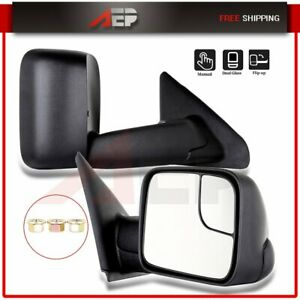 Fits 2002 2009 Dodge Ram Truck Pair Black Side View Mirror Manual Towing Mirrors