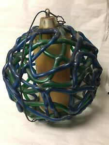 Vintage Mid Century Blue Green Thick Lucite Spaghetti Ball Globe Swag Lamp