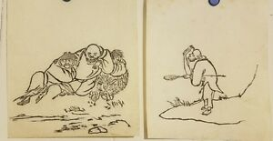 Vintage Korean Original Painting Small Size 2set Of Monks Painting