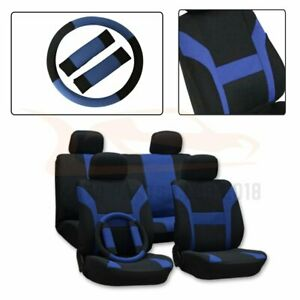 13 Pieces For 2000 2001 2008 Jeep Wrangler Black Blue Mesh Cloth Car Seat Covers