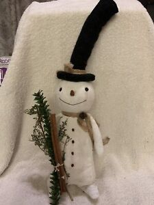 Primitive Handmade Winter Christmas Snowman Doll With Top Hat Folk Art 15