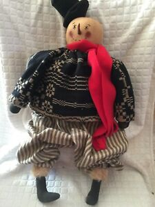 Primitive Handmade Winter Christmas Snowman Boy Doll Folk Art 25 5