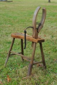 Antique Primitive Horse Harness Saddle Maker Bench Stitch Stitching Horse 1800 S