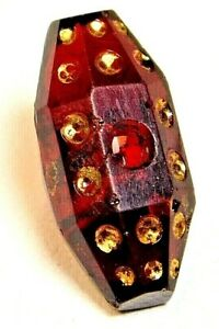Antique Button Dark Ruby Red Glass Faceted Oval With Gold Dots Whistle A3