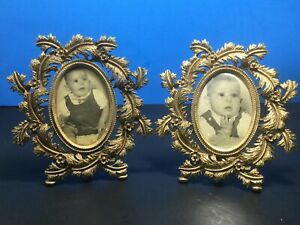 2 Vintage Floral Ornate Oval Metal Frames Italy Gold Brass Finish 5 5 X 5 5 A