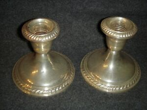 Pair Sterling Silver Alvin Weighted S160 Candlesticks Candle Holder 925