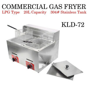 Commercial Countertop Gas Fryer 2 Basket Gf 72 Propane lpg With Metal Tube
