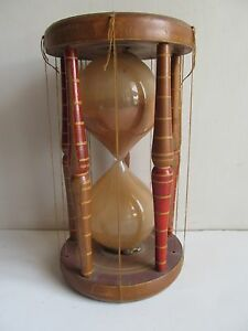 Antique Wooden Original Lacquer Work Hourglass Sand Glass Timer Sand Clock
