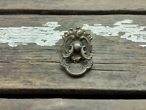 Vtg Antique Brass Fancy Provincial Ring Pull Handle Cabinet Desk Jewlery Drawer