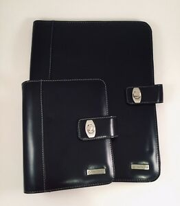 Franklin Covey Planner Portfolio Matching Black Glossy Turnlock Set Of 2