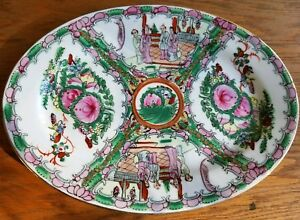 Famille Rose Medallion Platter Dish 12 Oval W Figures Chinese Export Antique