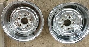 Vintage 1970 S Chrome Reverse 14 X 6 Wheels