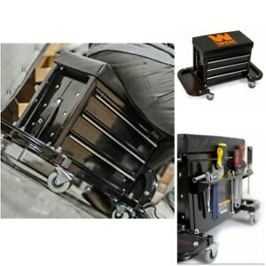Mechanic Creeper Seat Rolling Stool Tool Box Chest Storage Garage Shop Magnetic
