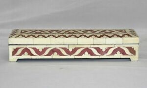 Vintage Wooden Pencil Box With Camel Bone Hand Carving Beautiful Painting Work