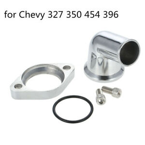 For Chevy Polished Thermostat Housing 15 Deg Swivel Water Neck Sbc Bbc Accs A5c5