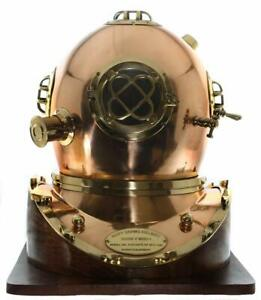 Us Navy Full Size Replica Us Navy Mark V Brass Diving Helmet Wood Base Solid New