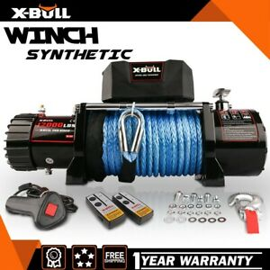 X Bull Electric Winch 12v12000lbs Synthetic Rope 1 Remote Control New Model 4wd