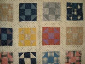 Antique Patchwork Shoofly Quilt Hand Quilted Mustard Cheddar Navy Pink 64 X 77