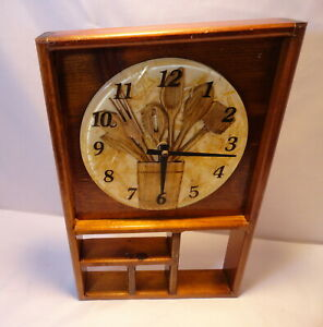 Vtg Wood Acrylic Kitchen Utensil Clock Display Shelf