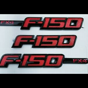 3pcs Of F 150 Fx4 Emblem Badge Fender Rear 3d Ford F150 F Black Red