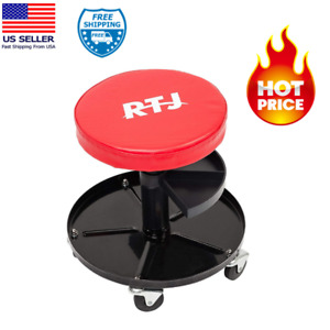Roller Seat Adjustable Rolling Stool Capacity Pneumatic Mechanic Rtj 300 Lbs Red