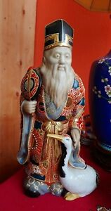 15 Antique Chinese Moriage Satsuma Immortal With Crane Statue