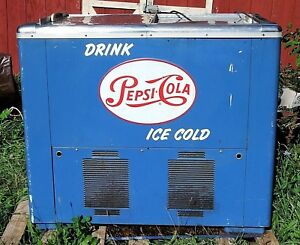 Working Vintage 1950s Pepsi cola Cooler Store Soda Blue Artkraft Copper Int