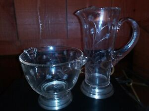 Wallace 5110 Sterling Silver Footed Etched Crystal Art Deco Bowl And Pitcher